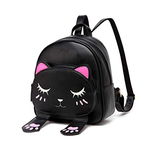 DIOMO Girls Backpacks Purse, Cute Cat Small Preschool Bags, Fashion Animal Travel Daypack for Kids (Black) (Best Way To See Epcot)