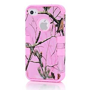 Beautiful Detachable 3 in 1 Pink Tree Branch PC Silicon Case Back Cover for iPhone4/4S , Green