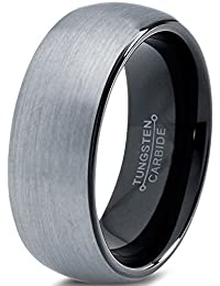 Tungsten Wedding Band Ring 8mm for Men Women Comfort Fit Black Enamel Domed Round Brushed Lifetime Guarantee