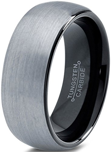 Charming Jewelers Tungsten Wedding Band Ring 8mm for Men Women Comfort Fit Black Domed Round Brushed Size 10.5