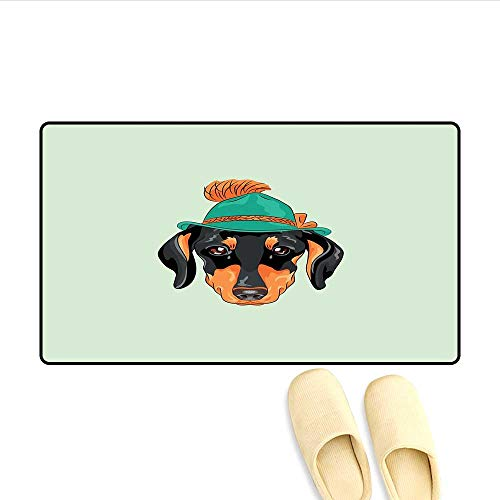 - Bath Mat Hipster Pure Breed Dog Silhouette in a Green Tyrolean Hat Cute Dachshund Puppy Door Mat Increase Multicolor 16
