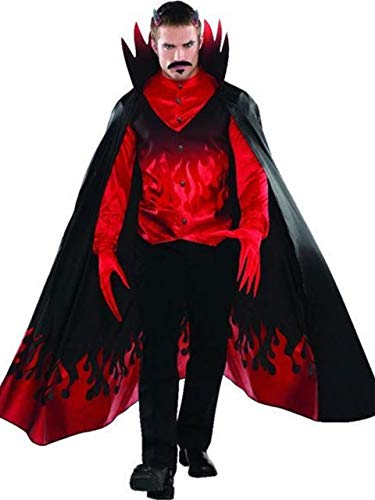 Mens Blood Red Black Devil Diablo Flames Scary Halloween Carnival Fancy Dress Costume Outfit S-XL (Small-Medium)