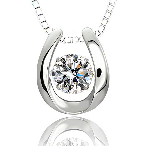 ARINZA 925 Sterling Silver Only U Dancing Stone Pendant Necklace with Swarovski Cubic Zirconia 18
