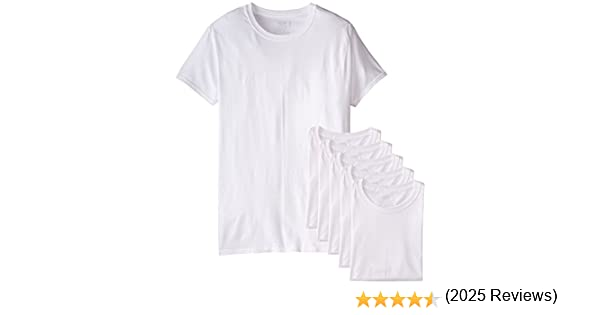 Amazon.com: Fruit of the Loom Mens Stay Tucked Crew T-Shirt - Small - White (Pack of 6): Clothing