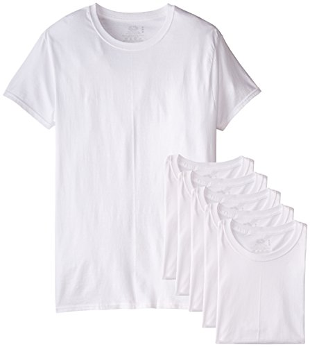 Fruit of the Loom Men's 6-Pack Stay Tucked Crew T-Shirt,White,Large