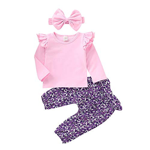 - Infant Girl Clothes Baby Girl Outfits Ruffle Long Sleeve Pink Shirt for Baby Girl + Purple Floral Bow Long Pants + Pink Bow Headband 3Pcs Outfits 0-3Months