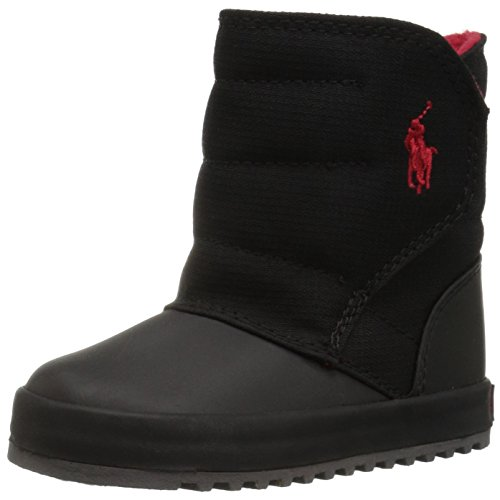 Polo Ralph Lauren Kids Baby Gabriel II Fashion Boot, Black Ripstop Nylon Red, 6 Medium US - Ralph Boots Women Polo Lauren