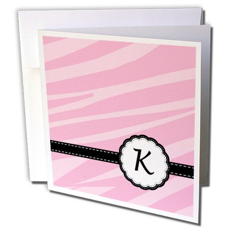 3dRose Monogram Letter K pink zebra print chic girly art - Greeting Cards, 6 x 6 inches, set of 12 (gc_152131_2) - Chic Zebra