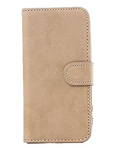 Magnetic Stand Wallet Protect Leather Flip Skin Hard Case Cover for Iphone 4g 4s (Beige)