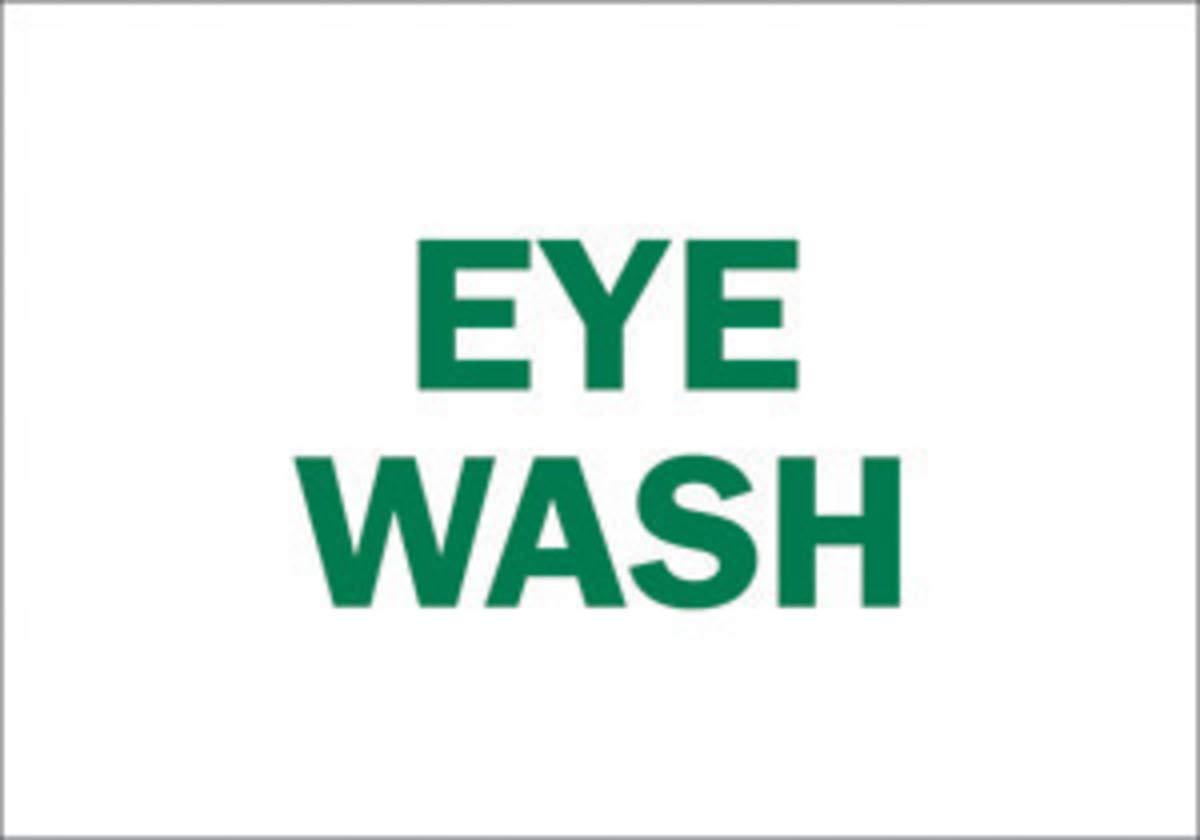 Brady 10'' X 14'' X .06'' Green On White .0591'' B-401 Polystyrene Office And Facility Sign''EYE WASH''