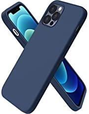 ORNARTO Compatible with iPhone 12 Case 6.1 and iPhone 12 Pro Case, Slim Liquid Silicone 3 Layers Full Covered Soft Gel Rubber Case Cover 6.1 inch-Navy Blue