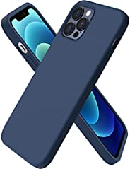 ORNARTO Compatible with iPhone 12 Case 6.1 and iPhone 12 Pro Case, Slim Liquid Silicone 3 Layers Full Covered