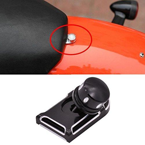 KaTur Black Billet Aluminum Knurled Seat Bolt Cover for Harley Sportster Dyna Touring 1996-2016