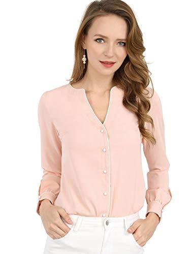 Allegra K Women's Button Down Long Sleeves Contrast Trim V Neck Elegant Blouse Top L Pink