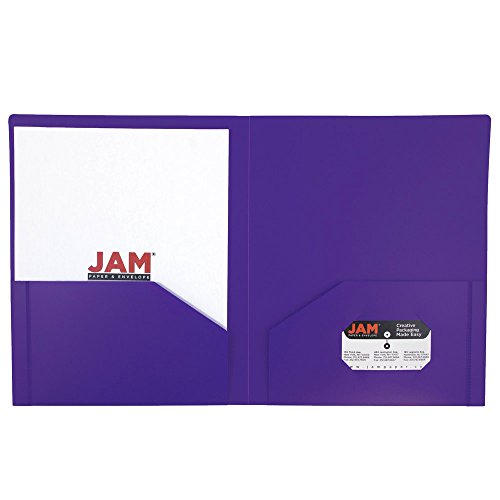 UPC 799418483405, JAM Paper Heavy Duty Plastic 2-Pocket Folder - Purple - Sold Individually