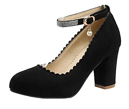 Solid Heels High Toe Pumps Round Buckle Shoes Frosted VogueZone009 Black Women's wAqSCxCtH