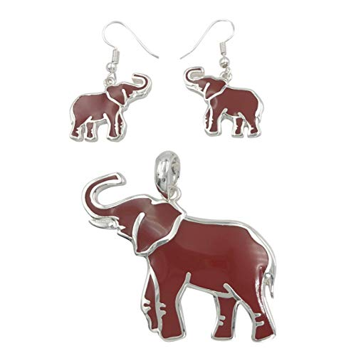 Gypsy Jewels Theme Silver Tone Large Pendant for Necklace & Dangle Earrings Set (Red Enamel ()