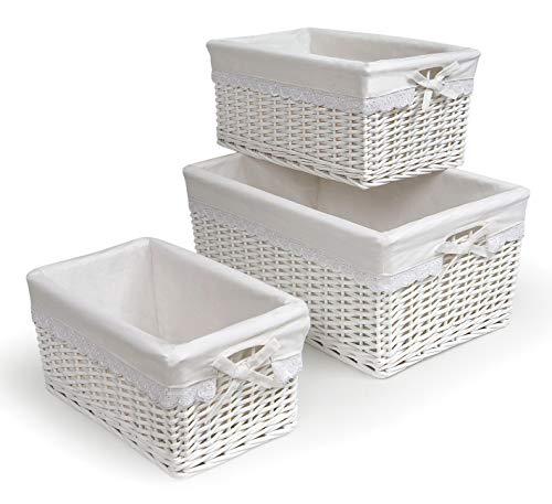 Three Nesting Wicker Nursery Baskets with Fabric Liners
