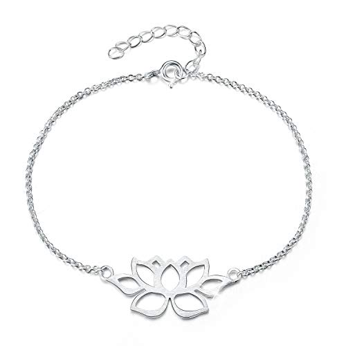 Lotus Fun S925 Sterling Silver Bracelet Vintage Classic Hollow Out Lotus Flower Adjustable Bracelets with Chain length 6.5''-7.6'', Handmade Unique Jewelry for Women and Girls