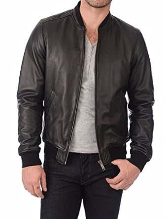 Leather Planet Men's Lambskin Leather Bomber Biker Jacket