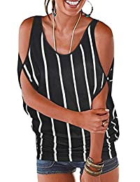 Ranphee Women's Cold Shoulder Tops Short Sleeves Loose Fit T-Shirt Lace up Dolman Blouse
