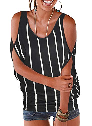 Neck Shirt Striped Open (Ranphee Women's Black and White Striped Summer Cold Shoulder Tops Casual Scoop Neck Short Sleeve T-Shirt)