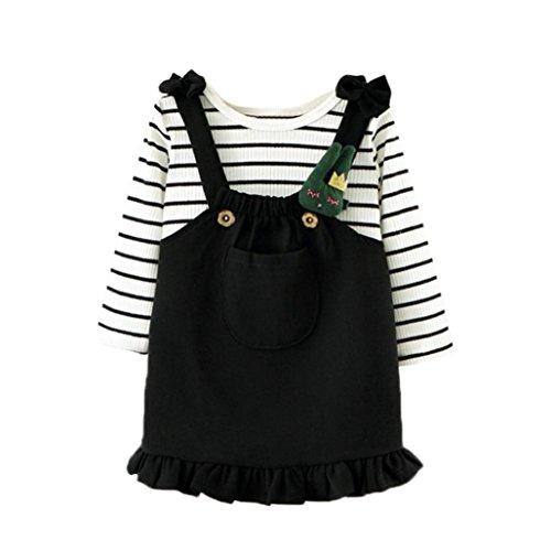 Ikevan Toddler Baby Kids Girls Outfits Clothes Stripe T-Shirt Tops+Skirt Overalls Dress Set 1PC Shirt 1PC Skirt (Black, Size:24M) - 31 Black Brick Light
