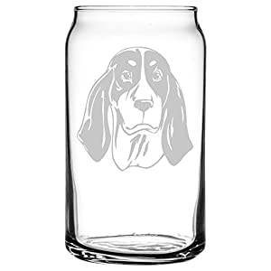 Ariegeois Dog Themed Etched All Purpose 16oz Libbey Can Glass 39