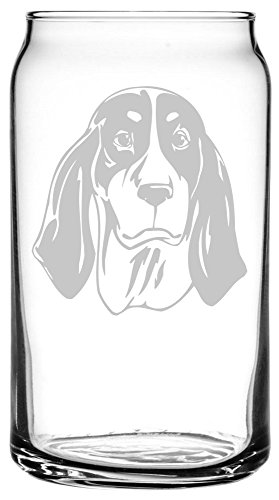 Ariegeois Dog Themed Etched All Purpose 16oz Libbey Can Glass 1