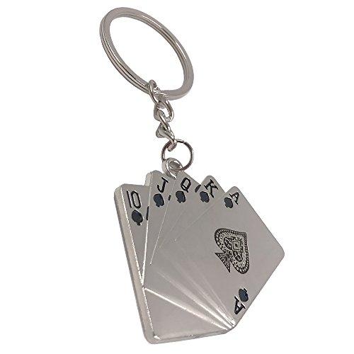 Wang Zhai Lucky Keychain Poker Straight Flush 10JQKA Key Chain Ring for Men Keyring for KidsKey Holder Fashion Metal Creative (Poker Key)