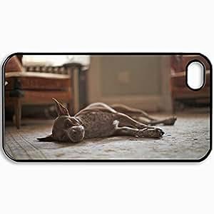 Personalized Protective Hardshell Back Hardcover For iPhone 4/4S, Dog Dog Sleeps Room Design In Black Case Color