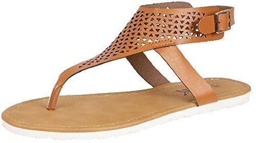 Saute Styles - zapatos con talón descubierto mujer - Tan Cutout Slingback Summer