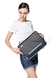 Mosiso Polyester Fabric Sleeve Case Cover Laptop Shoulder Briefcase Bag for 15-15.6 Inch MacBook Pro, Ultrabook Netbook Tablet, Black & Hot Blue