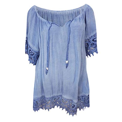 Women's Sexy Deep V Neck Short Sleeve Back Cross Tied Up Tee Backless Lace Crop Top Women's Tops Long Sleeve Lace Blue