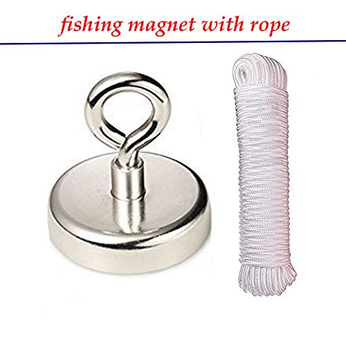 Wukong 255 Pounds Round Neodymium Magnet with Eyebolt, Diameter 2.36'' and Braided Rope 100 feet Strength Maximum Pulling Force 550 Pounds for Underwater Retrieving or Treasure Hunting