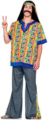Forum Novelties Far Out Man Hippie Adult Costume - Mens,Multi,Plus Size ()
