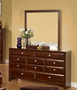 Calvino Solid Wood Construction Fully Assembled Dresser Mirror Merlot Finish