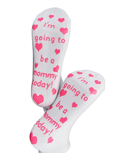 Labor Delivery Hospital Non Skid Push Socks By Baby Be Mine Maternity Pregnancy Pregnant Baby Shower Gift (6-10, I'm going to be a Mommy today Pink)
