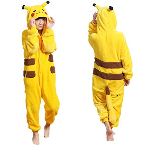 SSJ Kigurumi Pikachu Style Costume [Yellow for Kids] Pajamas (120cm_47.24in, Yellow) ()