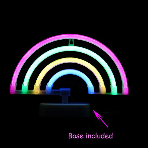 LED Neon Light Rainbow with Pink,Green,Yellow,Blue Color Wall Decorative Neon Signs for Bedroom Girls' Kids Home Decoration Night Light Battery Powered and USB Plug(NERBO)]()