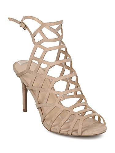llic Hollow Out Stiletto Sandal - Dressy, Formal, Wedding - Cutout Stiletto Heel - HD70 by Collection - Natural Faux Suede (Size: 9.0) (Faux Suede Sandals)