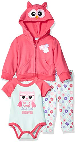 (Quiltex Girls' Toddler Owl Footed Leggings, Hoodie, and Creeper 3pc Set, Love, 6-9 Months)