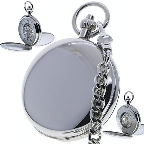 - Double Full Hunter Mechanical Silver Pocket Watch 17 Jewels Hand-Winding Skeleton Large Size 50 MM P36