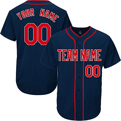 - Navy Custom Baseball Jersey for Men Throwback Embroidered Team Player Name & Numbers,Red-White Size L