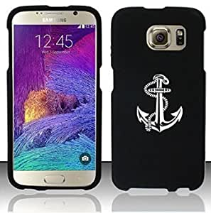 Samsung Galaxy S6 Snap On 2 Piece Rubber Hard Case Cover Anchor with Rope (Black)