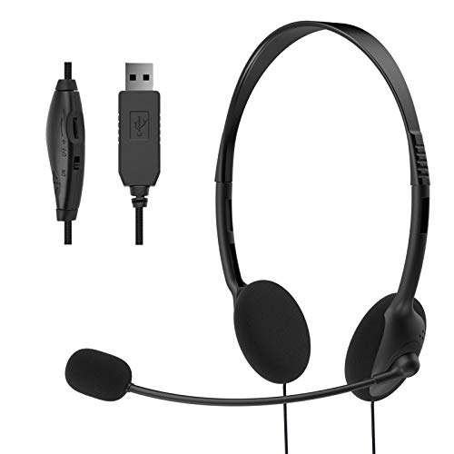 EBODA USB Headset with Microphone, Lightweight Comfort PC Headset Wired Headphones, Computer headsets for Skype Webinar…