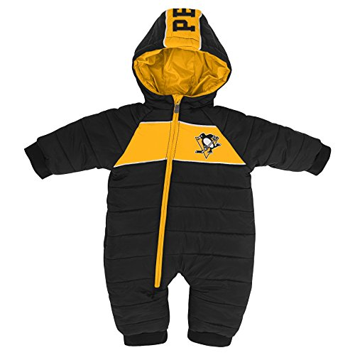 Outerstuff NHL Pittsburgh Penguins Newborn & Infant Puck Drop Puffer Bodysuit, Black, 18 Months