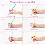 Pencil Grips, Briout Professional 6-Stage Preschool Writing Aid Pencil Grip for Kids Handwriting Pre-Kindergarten Finger Grip Posture Correction Trainer Set with Pencil Case