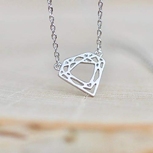 Geometric Diamond Shaped Necklace Sterling Silver 925
