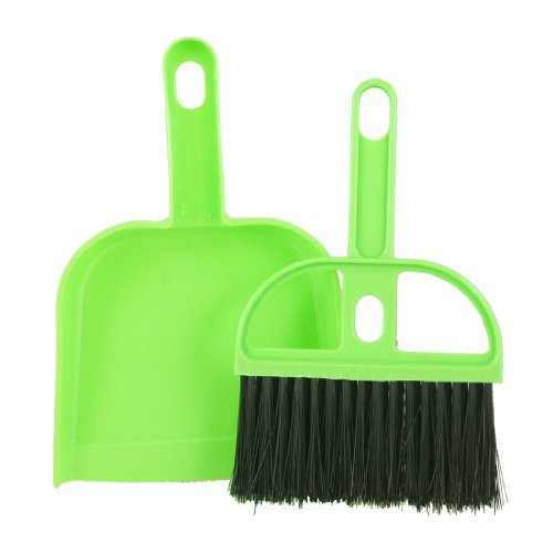 uxcell Mini Car Keyboard Cleaning Whisk Broom Dustpan Set Green Black
